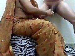 aunty shaving trouser snake getting ready boy for pummel. ganu