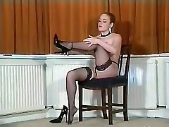 Sexy Brit busty tights teaser