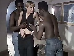 White hoe wife Rebeca gives anxious blowjob to a duo of big black dudes