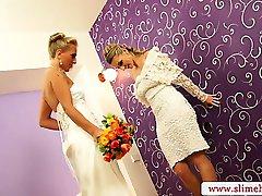 Bukkake for two bridal blondes