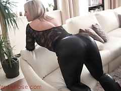 Milf leather pants and pantyhose