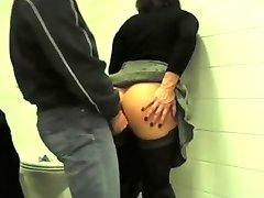 Public toilet anal fuck