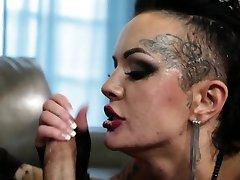 Goth whore deepthroats