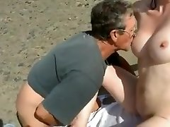 Nude Beach - Bashful Wifey Plays with Strangers
