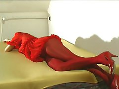 Flexible Radka in red nylon dress