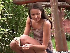 Tiny titted teen Adriana masturbating