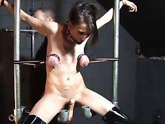 Tit restraint and fuck machine