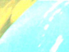 Pigtail girl showering in nylon dress
