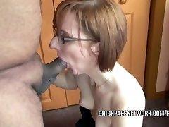 Horny housewife Layla Redd is blowing a stud she just faced