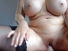 Pussy playing bit tit MILF rides toy, vibes pussy squirts