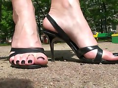 Walking in high heel sandals