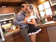 Sexy spanish maid sucks cock and gets nice hard anal doggy style fucking