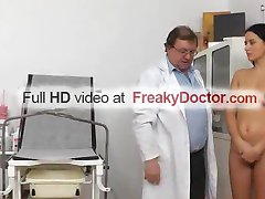 Aged gyn doctor spreads hot brunette Lily pussy