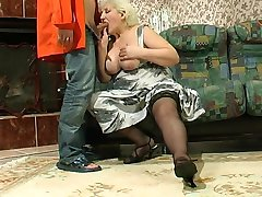 Older Sexy Blond Russian granny gets it good.