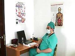 Horny gynecologist examines shy teen girl