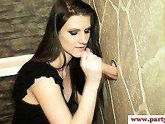 Real party euro amateur at gloryhole