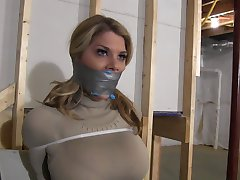 Chesty Blonde Restrained with Zip Ties & Gagged