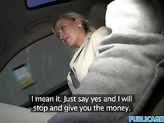 PublicAgent Enormous tits blondie fucked in car