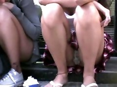 woman sitting in the street - upskirt!!