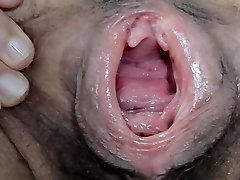 Wet and Hairy gaped labia