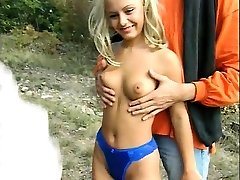 Blonde teen girl used by two big black cocks