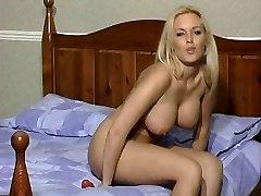 Sexy Ash-blonde in Tan Pantyhose Rides Her Dildo