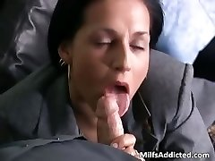 Slutty black-haired MILF secretary gets wet part4