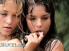 Beautiful baby sitters in the rain