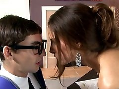 Huge-boobed raven haired sweetie blows smelly cock of her young educator greedily