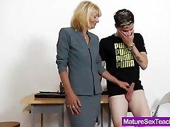 Mom teacher playing plus a cock