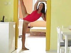 very flexible & sexy girl fucks dildo