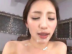 Japanese bukkake fucked &  cum kissing