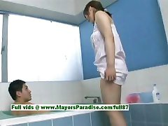 Nao Ayukawa innocent naughty asian girl gives head in the bathroom