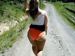 Orange Bikini Ass - walking