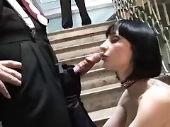 FETISH Tattoed Brunette HC Anal Threesome -L1390-