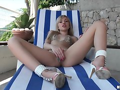 Hot young blonde euro babe in bikini has wet pussy fucked outdoors