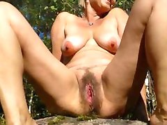 From hairy forest to bald pussy hole. Ape wife's total strip show.