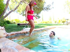 HOT brunette lifeguard with hugetits Eva Notty fucks by the pool