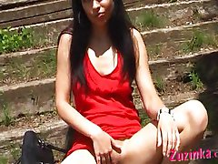 Sexy exhibitionist horny in the park