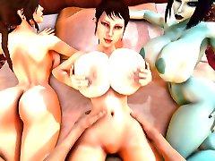 Trishka gets fucked while Soria and Lara Croft watch 3D