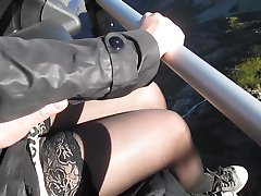 Touching her tits and legs in stockings on cableway