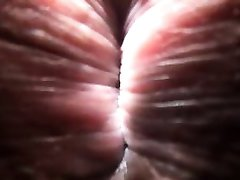Close-up p.o.v. shemale sucking, fucking and creampied