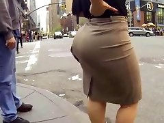 Candid big ass walking in tight work dress