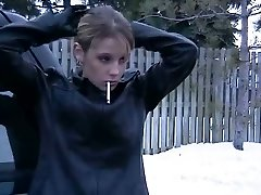 Smoking Damsel in Leather Jacket and Mittens 2