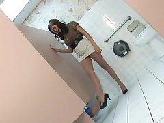 Hot Secretary wearing wide belt gets fucked in the toilet