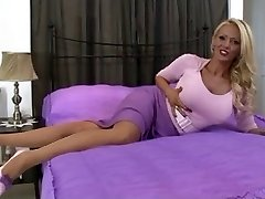 blond in vintage undergarments and stockings solo