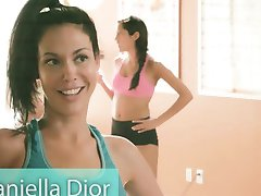 Big boobs instructor and two brunettes yoga while naked