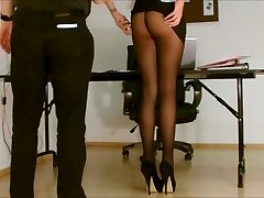 Assistant pantyhose exposed.