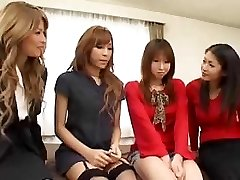 Pretty Asian she-males orgy