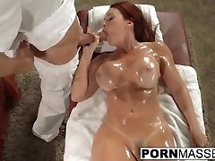 Horny Janet gets load full of jizm after calm massage